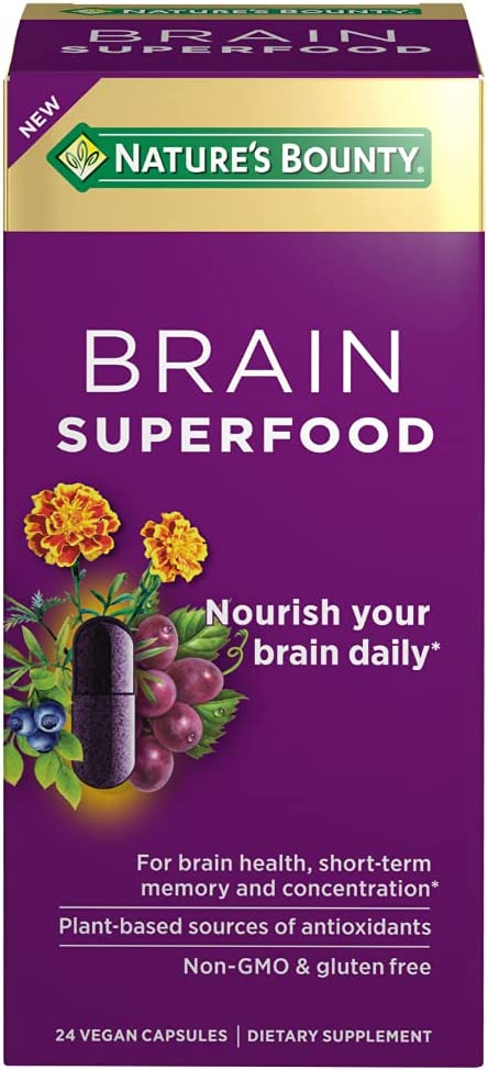 Nature's Bounty Brain Superfood 24 Count Vegan Capsules for Short-term Memory and Concentration
