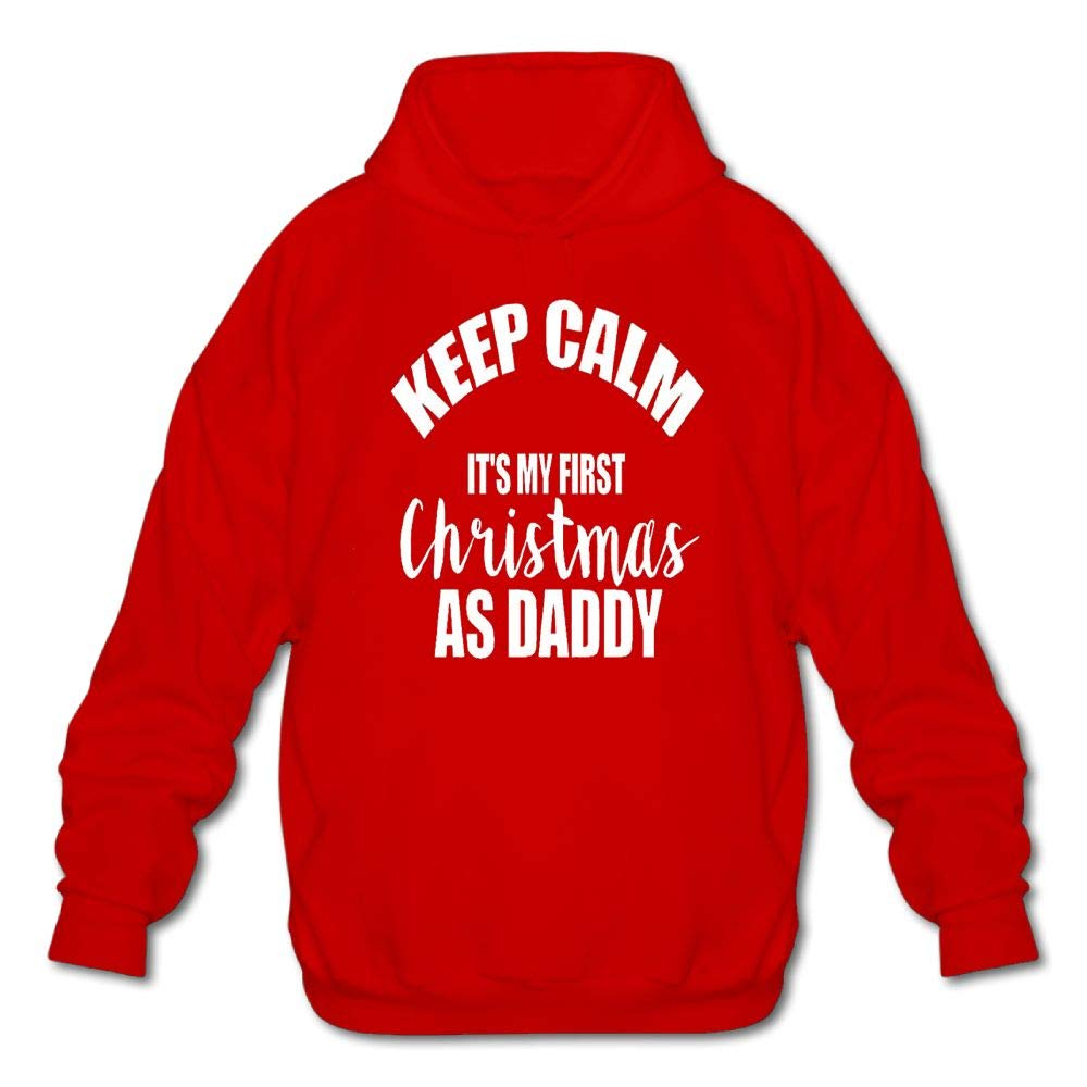 Sweatshirt Mens Long Sleeve Cotton Hoodie Keep Calm Its My First Christmas As Daddy