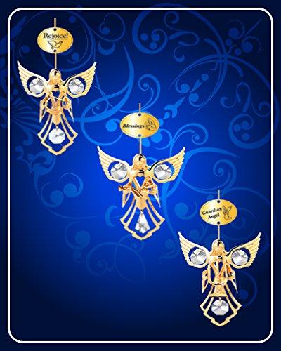 (Set of 3 Ornaments - 24k Gold Plated Angel W/clear Swarovski Austrian)