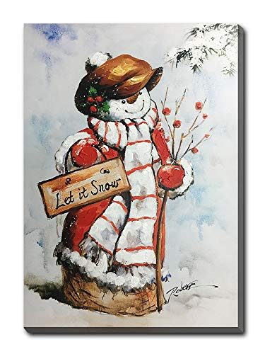 Hongwu-Christmas Wall Art Snowman Let It Snow Winter Berry Branch Hand-Painted Oil Painting on Canvas Stretched Ready to Hang for Home Wall Decor 20x28inch
