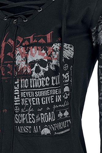 Negro Rock Larga Emp Camisa Manga Stay Rebel By qxqOS0rZ