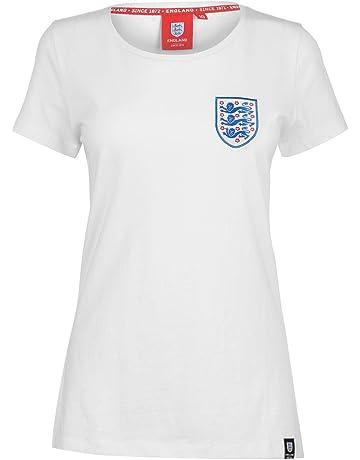 Fa England Small Crest T-Shirt Womens White Football Soccer Fan Top Tee  Shirt 812e7e9079