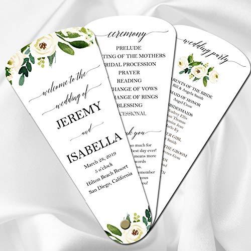 Wedding Program Petal Fans Assembled Set of 50 - Elegant Floral in White Collection -