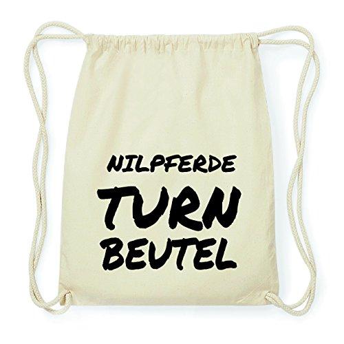 JOllify NILPFERDE Hipster Turnbeutel Tasche Rucksack aus Baumwolle - Farbe: natur Design: Turnbeutel R01fDccpti