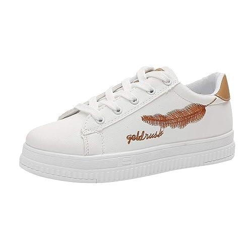 Zapatos Mujer Plataforma Calzado Deportivos Estudiante Zapatos de Plumas Blancas Zapatillas de Correr Casuales Tacon bajo Estilo Universitario Gusspower: ...