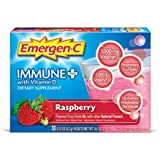 Emergen-C Immune+ (30 Count, Raspberry Flavor) Vitamin D Dietary Supplement Fizzy Drink Mix, 0.32 Ounce Packets, Caffeine Free