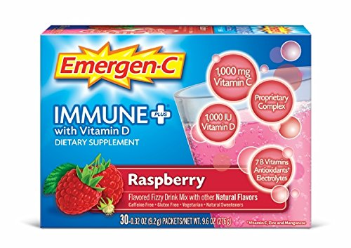 Emergen-C Immune+ System Support Dietary Supplement Drink Mix With Vitamin D, 1000mg Vitamin C, 0.32 Ounce Packets (Raspberry Flavor, 30 Count)
