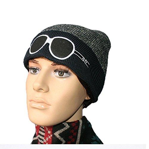 aire blue gorro GlassesDaily libre negro Lined de Hat Warm Thick bordado al esquí Soft navy Knitting Invierno 7a8Txnf