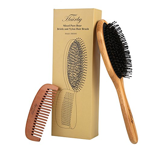 Natural Boar Bristle Hair Brush Set for Men Women and Kids, HAIRBY Mixed Nylon Boar Paddle Brush for Hair Detangling and Conditioning, Ideal For Thick, Fine, Thin, Wavy, Straight, Long, or Short Hair