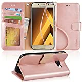 Galaxy A5 2017 Case, Arae [Wrist Strap] Flip Folio [Kickstand Feature] PU leather wallet case with ID&Credit Card Pockets For Samsung Galaxy A5 2017 (NOT for galaxy A5 2016),Rosegold