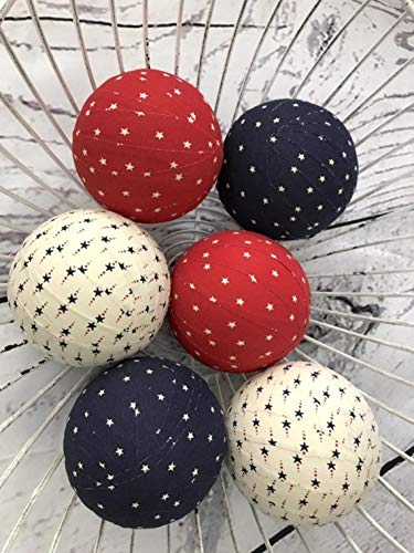 (Patriotic Stars/cream Fabric Ball bowl fillers - orbs)