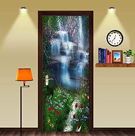 FLFK 3D Fantasy Waterfall Flowers Door Sticker Wall Mural Photo Decals for Home Bedroom Decor 30.3x78.7 GXL748