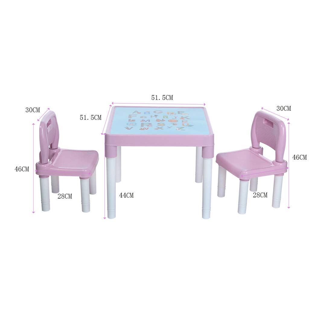 Wesracia Kids Table and Chairs Set - US Made - Toddler Activity Sturdy Plastic Desk for Lego, Reading, Play (2 Seats & 1 Table) (Pink) by Wesracia (Image #5)