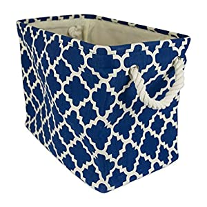 "DII Collapsible Polyester Storage Basket or Bin with Durable Cotton Handles, Home Organizer Solution for Office, Bedroom, Closet, Toys, & Laundry (Small – 14x8x9""), Navy Lattice"