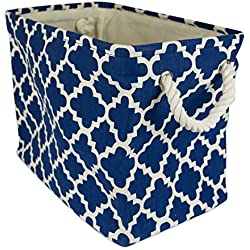 "DII Collapsible Polyester Storage Basket or Bin with Durable Cotton Handles, Home Organizer Solution for Office, Bedroom, Closet, Toys, Laundry (Small – 14x8x9""), Navy Lattice"