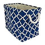 "DII Collapsible Polyester Storage Basket or Bin with Durable Cotton Handles, Home Organizer Solution for Office, Bedroom, Closet, Toys, Laundry (Large – 18x12x15""), Navy Lattice"