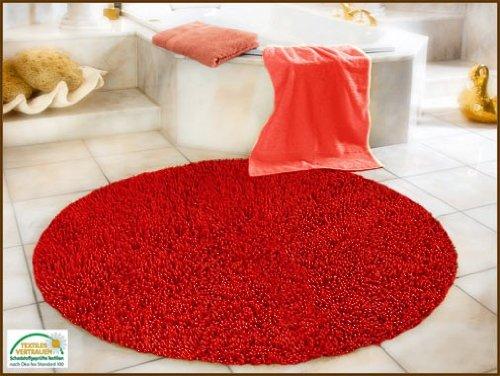 Gözze Teppich, 100% Baumwolle, Wollgarn-Hochfloroptik, Rund, Durchmesser 110 cm, Rot, 1010-4999-73