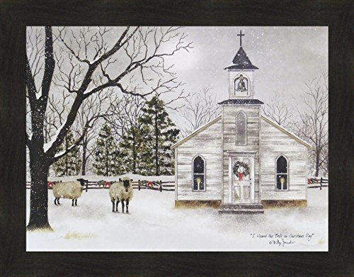 Country Snow - I Heard The Bells On Christmas Day by Billy Jacobs 22x28 Country Church Sheep Lambs Wool Snow Snowing Framed Art Print Picture