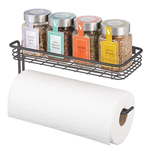 mDesign Paper Towel Holder with Spice Rack