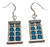 Best CBD Birthday Gifts For Aunts - Blue Police Box Earrings .925 Sterling Silver Earwires Review