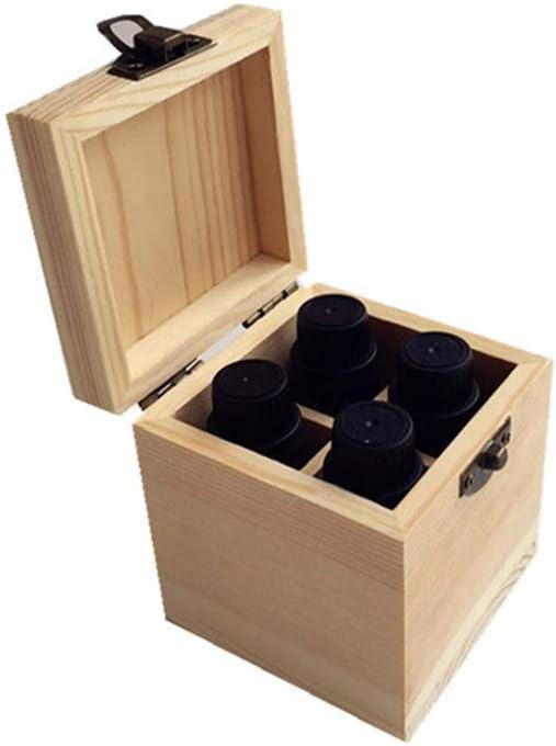 LY-YY 木製 エッセンシャルオイルの貯蔵 4スロット品質の木製エッセンシャルオイルストレージボックスオイルケースホルダー金庫(カラー:ナチュラル、サイズ:8X8X9CM) 香りが保存される