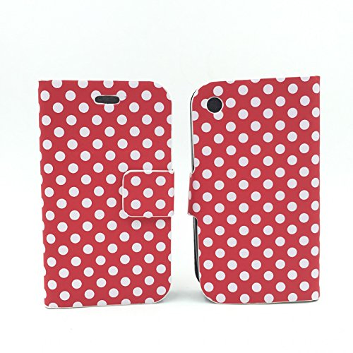 König-Shop Apple iPhone 3 / 3G / 3GS Handy Hülle Schutzhülle Tasche (Flip Quer) Wallet Rockabilly Etui Schutz Case Cover Bumper Standfunktion Rot / Weiß Gepunktet