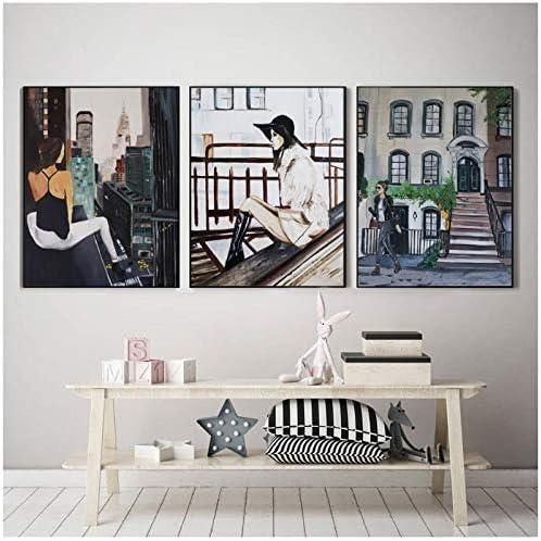 パリ市女の子北欧ウィンドウポスターと版画ファッションウォールアートキャンバス絵画壁の写真家のための装飾-40×50センチ×3フレ
