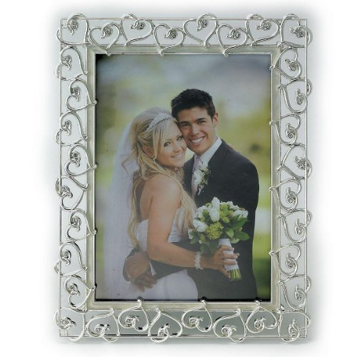Lawrence Frames 8 by 10-Inch Silver Plated Metal Picture Frame, Open Heart Design with Crystals and Ivory Enamel (Heart Metal Silver)