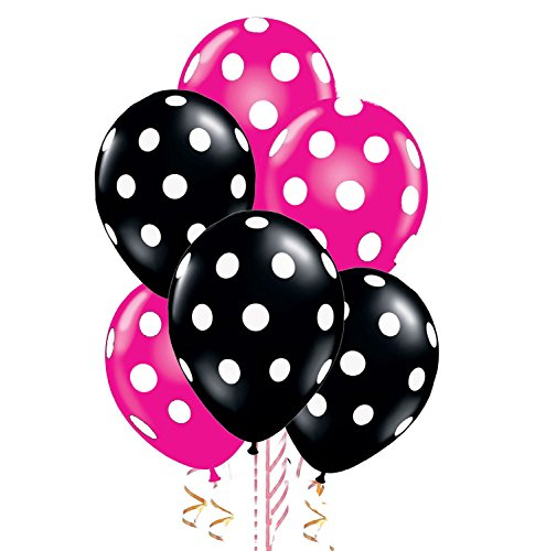 Polka Dot Balloons 11 Inch Premium Black and Berry Pink with All-Over Print White Dots Pkg/100 ()