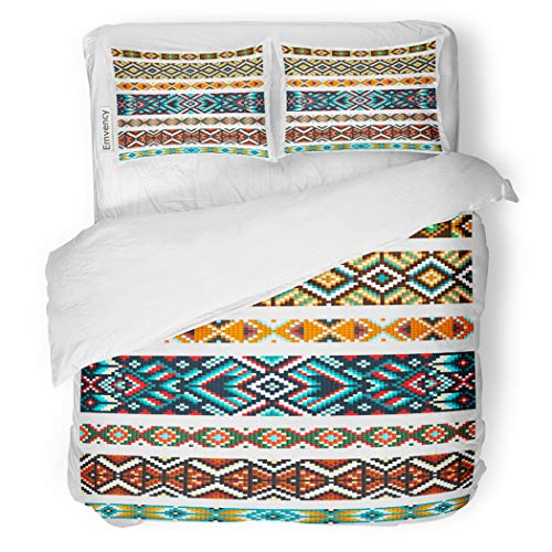 SanChic Duvet Cover Set Beading Tribal Beads Necklace African Ethnic Cross Squares Decorative Bedding Set with 2 Pillow Shams Full/Queen Size