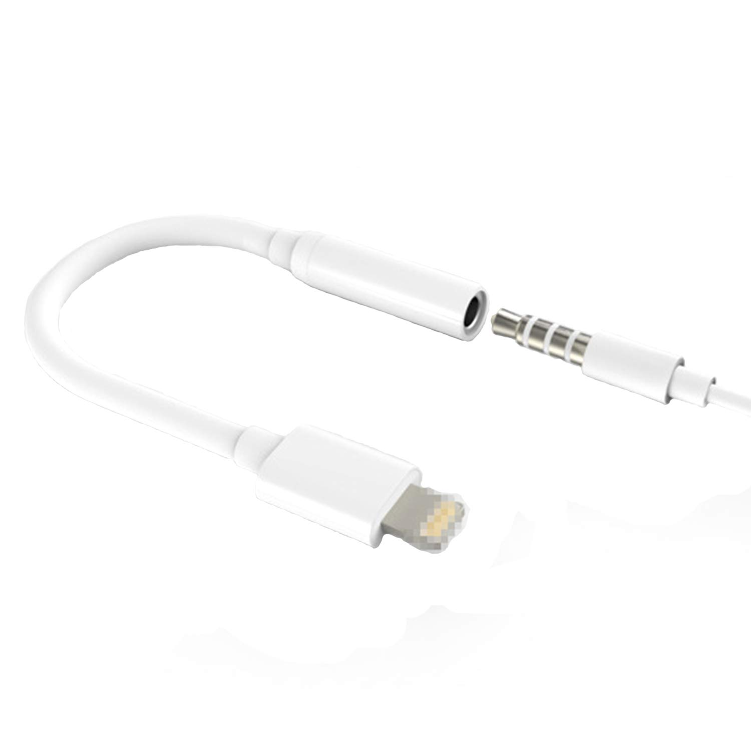 3.5mm AUX Audio Headphone Jack Adaptor Earphone Extension Connector Cable for iPhone White