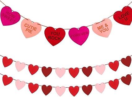 110inch Heart Pattern Banner Pennant Bunting Felt 10-Flags Wedding Hanging Decor