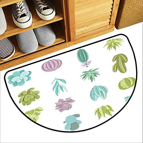 DILITECK Bedroom Doormat Exotic Various Saguaro Barbary Fig Prickly Pear Peyote Tropical Plants Non-Slip Door mat pad Machine can be Washed W24 xL16 Pistachio Green Lilac Turquoise