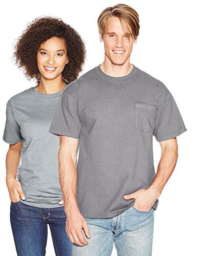 Hanes Beefy-T Men`s Pocket T-Shirt, 5190, M, Vintage Gray ()