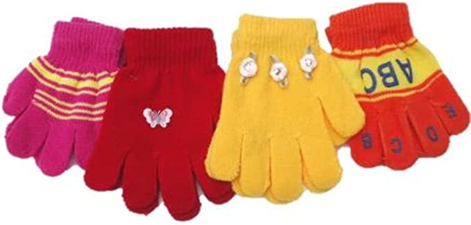 Set of Four One Size Magic Stretch Gloves for Children Ages 1-3 Years