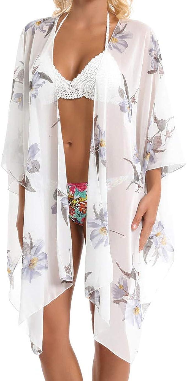 Copricostumi da Mare Donna Costume da Bagno Cover up Chiffon Pizzo Scollo a V Scialle Donna Copricostumi e Parei Cardigan Spiaggia