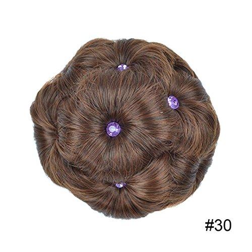 Curly Chignon Hair Clip In Plastic Comb Elastic Bun Hair Pieces Black Brown Burgundy High Temperature Fiber Pure Color #30