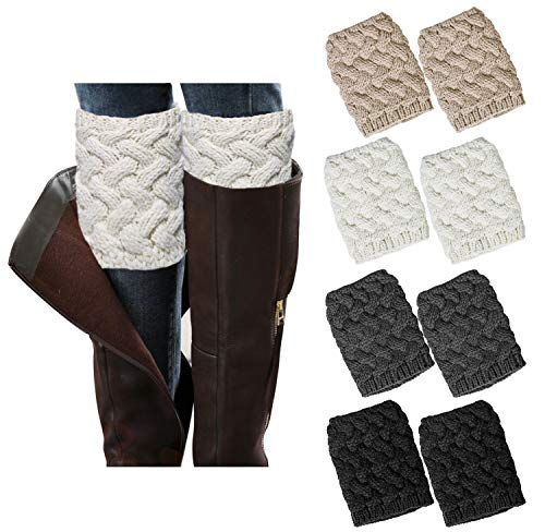 - Loritta 4 Pairs Women Winter Crochet Knitted Boot Cuffs Toppers Short Leg Warmer