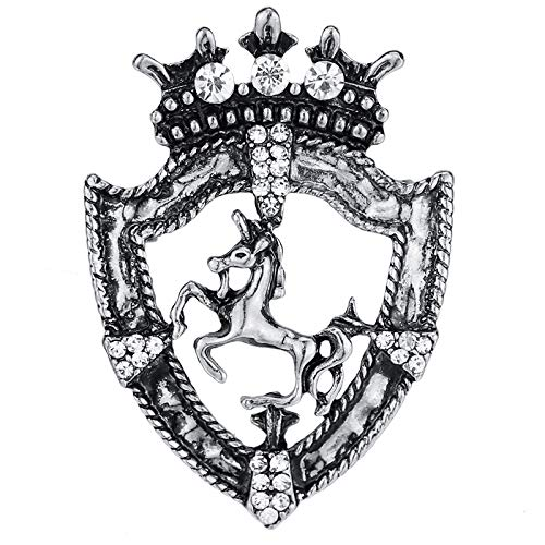 POLPEP Influx Men Suit Crown Brooch Lapel pin Retro Horse Buckle Presenter Small (Vintage Silver