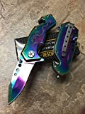 Tac Force Assisted Opening Dragon Design Small Knife Hunting Camping Outdoor Tatical Rainbow Blade