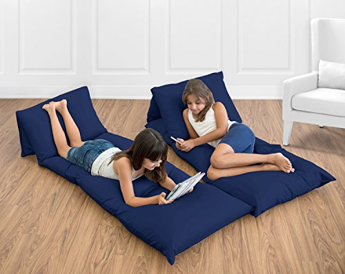 Navy Blue Kids Teen Floor Pillow Case Lounger Cushion Cover (Pillows Not (College Floor Pillows)