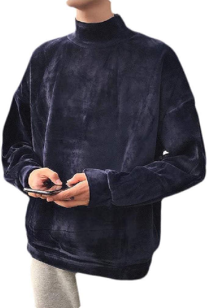 Cromoncent Mens Winter Warm Velour Fleece Turtleneck Pullover Sweatshirt