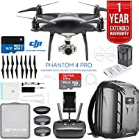 DJI Phantom 4 Pro Quadcopter Drone Camera (Obsidian) with Battery, Charging Hub, Custom Backpack and 64GB Memory Card Bundle