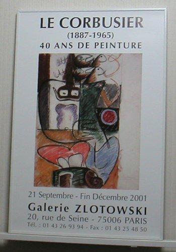 ルコルビジェ Galerie Zlotowski【ポスター+高級アルミフレーム】約61x41cm ホワイト B00DM83IV0 ホワイト ホワイト
