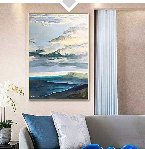 ainted Oil Paintings Chinese Oil Painting Hand-Painted Large Seaside Clouds Light Luxury Modern Porch Decorative Painting Aisle Corridor Vertical Paintings,60×85Cm ()