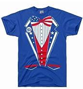 DirtyRagz Men's USA America Merica Tux Tuxedo Suit Costume T Shirt
