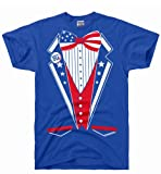 DirtyRagz Men's USA America Merica Tux Tuxedo Suit Costume T Shirt 2XL Royal Blue