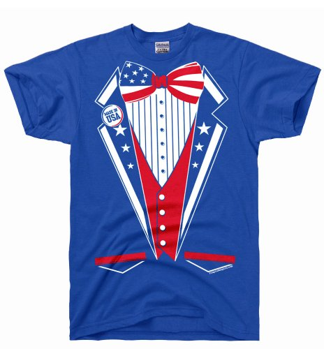 [DirtyRagz Men's USA America Merica Tux Tuxedo Suit Costume T Shirt 3XL Royal Blue] (Us Olympic Costume)