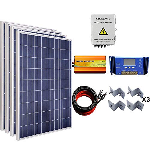 (ECO-WORTHY 400W Solar Panel Complete System: 4pcs 100W Poly Panel + Solar Combiner Box + 1000W Inverter + 60A Charge Controller + 16Ft Cable + Mounting Brackets)