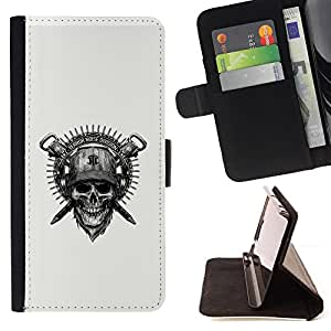 Jordan Colourful Shop - Cool Badass Military Skull & Helmet For Apple Iphone 6 PLUS 5.5 - < Leather Case Absorci????n cubierta de la caja de alto impacto > -